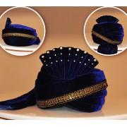 Traditional Navy Blue Velvet Turban Groom - 72516