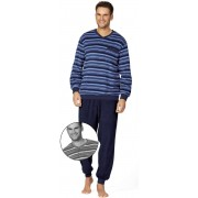 Comte for men Heren badstof pyjama blauw Comte for men