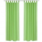 vidaXL Зелени прозрачни завеси 140 х 225 см – 2 броя