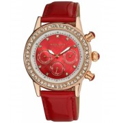 Akribos XXIV Akribos GMT Multi-Function Red Mother of Pearl Patent Leather Ladies Watch AK556RD Red mother of pearl