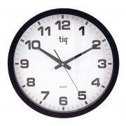 Ceas rotund de perete, D-400mm, cifre arabe, TIQ - rama plastic neagra - dial alb