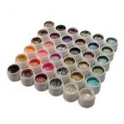 geluri colorate unghii cu sclipici 36 bucati pentru manichiura