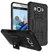 Samsung Galaxy J7 (2016 Edition) SM-J710F Shock Absorption Hybrid Armor Protection Defender Back Cover Case- Black (For Samsung Galaxy J7 (2016 Edition) SM-J710F)