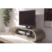 - Meuble TV taupe 160 cm avec étagère verre - Larson