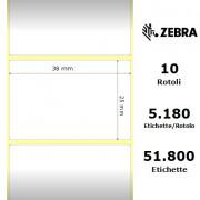 Zebra Z-Select 2000T - Etichette in carta patinata di colore bianco, formato 38 x 25 mm.