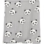 Småfolk Grey Panda Print Swaddle Blanket