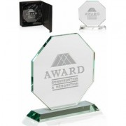 2 Octagon Cheap Glass Awards for Your Corporate Events - DMAW34 (Bulk)