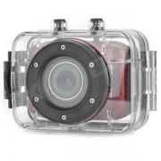 DV123 Deportes al aire libre impermeable HD 2.0 TFT 1.3MP CMOS de la camara w / TF / Mini USB Set - Rojo + Negro