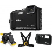 Aparat Foto Digital NIKON COOLPIX AW130 Outdoor Kit (Negru), Filmare Full HD, 16MP, Zoom Optic 5x, GPS, Wi-Fi, NFC, Rezistent la apa, socuri, praf si frig