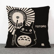 rosegal Fashion Cartoon Umbrella and Totoro Pattern Flax Pillow Case(Without Pillow Inner)