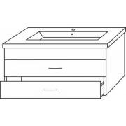 Sanipa Waschtischunterschrank 2morrow MR79882, Weiss-Hochglanz, H:450, B:750, T:462 mm MR79882