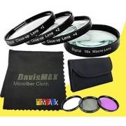 67mm Macro Close Up Kit + 3 Piece Filter Kit for Canon EOS 70D with Canon 18-135mm STM Lens + DavisMAX Fibercloth Filter Bundle