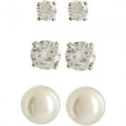 Napier Simulate Pearl & Crystal Trio Earring Set