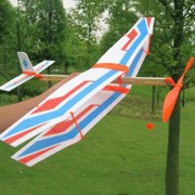 Magideal Assembly Airplane Aircraft Launched Powered By Rubber Band White Blue