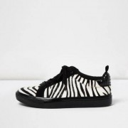 River Island Womens Black zebra print lace-up trainers