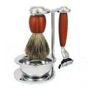 LUKSUSOWY zestaw do golenia WOOD, 4-częściowy, pędzel BORSUK SILVER TOP, SOLINGEN-C.S.