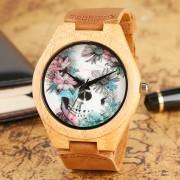 Fashion Wood Watch Skull and Flower Deisgn Wrist Watch Special Handmade Natural Bamboo Quartz Watch Men Women Gift