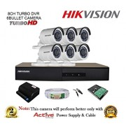 Hikvision DS-7208HGHI-F1 720P (1MP) 8CH Turbo HD DVR 1Pcs + Hikvision DS-2CE16COT-IR Bullet Camera 6Pcs + 2TB HDD + Active Copper Cable + Active Power Supply Full Combo Kit.