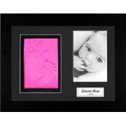 Anika-Baby BabyRice New Baby Girl Pink Hand and Footprint Kit, Black Photo Display Frame