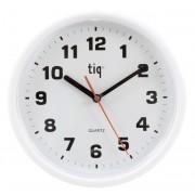 Ceas rotund de perete, D-245mm, cifre arabe, TIQ - rama plastic alba - dial alb