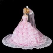 Princess Wedding Gown Dress w/ Veil for Barbie Doll Light Pink