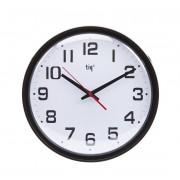 Ceas rotund de perete, D-348mm, cifre arabe, TIQ - rama plastic alba - dial alb