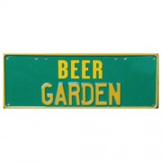 """Novelty Number Plate - Beer Garden Yellow On Green"""
