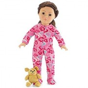 18 Inch Doll Pink Footed Heart Pajamas with Teddy Bear Clothes Fit American Girl Dolls Onesie Style Gift Boxed!