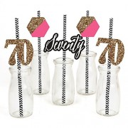Chic 70th Birthday - Pink Black and Gold - Party Straw Decor with Paper Straws - Set of 24