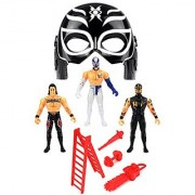 Velocity Toys Ultimate Hero Wrestling Toy Figure Play Set w/ Masks 3 Toy Figures Accessories (Figures May Vary)