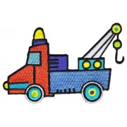 """Trucks Camiones Toy Tow Truck Camión Patch, Officially Licensed Artwork, Iron-On / Sew-On, 4"""" x 2.63"""" Embroidered PATCH PARCHE"""