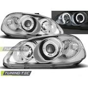 Přední světla, lampy Angel Eyes Honda Civic 95-99 chromové, 2dv, 3dv, 4dv
