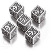 Set of Metal D6 Dice (5): Solid Metal Import Dice (Die-Cast Designer Six-Sided Die / d6) - Dwarven Metal Black Design