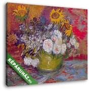 Vincent Van Gogh: Rózsák és napraforgók (30x25 cm, Vászonkép )