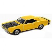 1969 Dodge Coronet Super Bee Yellow With Black Hood - Motormax Premium American 73315 - 1/24 Scale Diecast Model Car