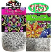 Timeless Collections Mandala Designs & Magical Garden Large (12 x12 ) Premium 36 Page Adult Coloring Books Gift Set Bundle - 2 Pack
