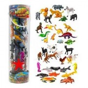 Giant Animal Action Figure Set - Big Bucket Of Ocean Dinosaur Safari And Farm Animals - 40 Figure