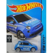Hot Wheels, 2015 HW City, Fiat 500 [Light Blue Polizia] Die-Cast Vehicle #50/250 by MATTEL