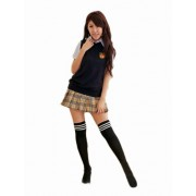 Innocent school! Set of 4 cos schoolgirl Cosplay Uniforms & check skirt and vest and knee-high socks size M assent [K's Factory original 680 yen equivalent emergency whistle phone strap for present] (japan import)