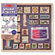 Melissa & Doug Stamp-a-Scene Stamp Pad: Fairy Garden - 20 Wooden Stamps 5 Colored Pencils and 2-Color Stamp Pad