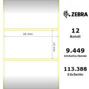 Etichette Zebra - Z-Ultimate 3000T White, formato 25 x 13