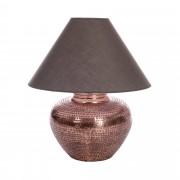 Lampe pied goutte d'eau bronze - abat jour coloris taupe grisé