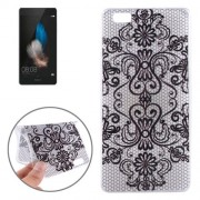 Embossed Flowers Pattern TPU Protective Case for Huawei P8 Lite