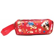 Akisha Multi Purpose Barbie Pencil Pen Case Storage Pouch Bag with 3 zips For Girls and Boys (Red)