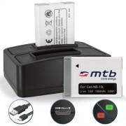 2 Batteries + Double Chargeur (USB) pour NB-13L NB-13LH / Canon PowerShot G5 X, G7 X, G9 X (3.6V - 1050mAh - avec Infochip) - Cable Micro-USB inclus