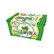 Poly-M Farm 155 Creative Building Bricks in a Stable and High-Grade Storage Box (155-Piece, Multi-color)