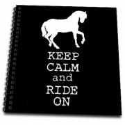 3dRose db_171900_1 Keep Calm and Ride On. Black and White. Horses. Horse Lover. Equestrian-Drawing Book 8 by 8-Inch