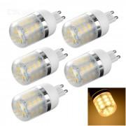 G9 lamparas de maiz de 3W LED con cubierta 240lm blanco caliente 24-SMD - blanco (5PCS)