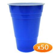 """American Blue Plastic Party Cups - 425ml (50 Pack)"""