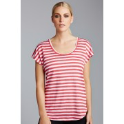 Womens Emerge Slouchy Linen Tee - Red/White T-Shirt